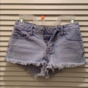 PacSun Light Denim Mid Rise Jean Shorts